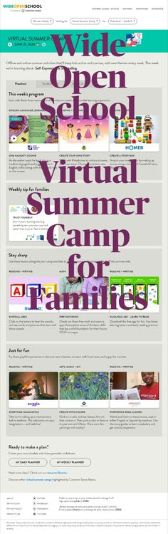 """"""" Wide Open School is offering a virtual summer camp with online and offline activities in both English and Spanish that will keep kids of all ages active and curious until next school year."""""""