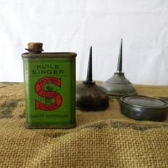 Old Singer tin oil can