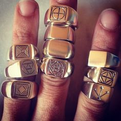 Sacred Geometry and Alchemy signet Rings ready for market tomorrow - my hands are worse for wear- but hopefully will make someone's ha. All That Glitters, Signet Ring, Sacred Geometry, Alchemy, Rings For Men, Silver Rings, Hands, Dreams, Jewellery