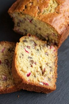 What's Baking: Cranberry Orange Pecan Bread - A Less Processed Life - Pecan Recipes Cranberry Pecan Bread Recipe, Orange Cranberry Loaf, Pecan Recipes, Cranberry Recipes, Sweet Recipes, Baking Recipes, Cake Recipes, Dessert Recipes, Bread Recipes