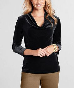 Black Velvet Cowl Neck Top - Petite & Women by Lands' End via Zulily I am in love with stretch velvet and am very happy it is making a comeback. Great top with houndstooth or Glen plaid trousers or a skirt for work.