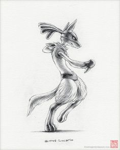 Lucario  drucken 8 x 10Pokemon Zeichnung kämpfen