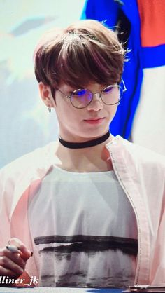 Shoutout to Jungkooks Cordi noona who put him into pale pink clothing and these round specs, he looks like he comes straight outta pastel themed tumblr blog ✨ #Jungkook
