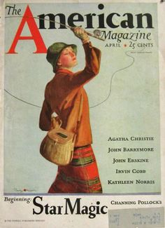 1933 American Magazine Cover ~ Woman Fly Fishing ~ Penrhyn Stanlaws