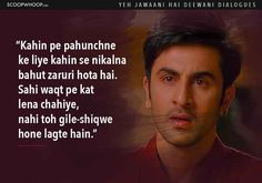 14 Yeh Jawaani Hai Deewani Dialogues That Prove Its Our Generations Favourite Coming-Of-Age Film Love Song Quotes, Pretty Quotes, Real Quotes, Lyric Quotes, Movie Quotes, True Quotes, Poem Quotes, Qoutes, Lyrics