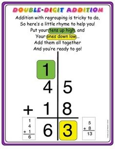 Addition with Regrouping Anchor Chart Theres a fun and catchy rhyme on the chart... click on the item to see it larger... great chart from Melanie Redden. $1.00