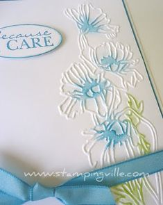 Flower Garden Textured Impressions Embossing Folder - Stampin' Up! ~ This is really pretty! Just daub a bit of color over the blooms (or wherever) and go! Tarjetas Stampin Up, Stampin Up Cards, Cute Cards, Diy Cards, Card Making Techniques, Embossing Techniques, Embossed Cards, Get Well Cards, Card Tutorials