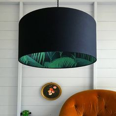 palm jungle silhouette lampshade in jet black