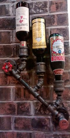 3-10 Bottle Customizeable Industrial Wine Rack Wall Mount Steampunk Holder Black Pipe Loft and Bar Rustic Decor