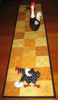 Chicken table runner - wonder how hard it will be to find a black & white chicken figurine