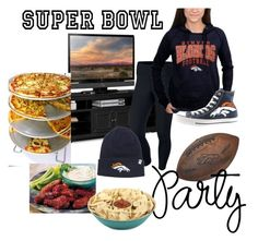 """Superbowl Party! Go Broncos!"" by horsingaroundtomboy ❤ liked on Polyvore featuring interior, interiors, interior design, home, home decor, interior decorating, NIKE, 5th & Ocean, Core Home and Converse"
