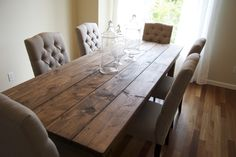 Rectangle Shabby Brown Wooden Dining Table With Double Brown Wooden ...