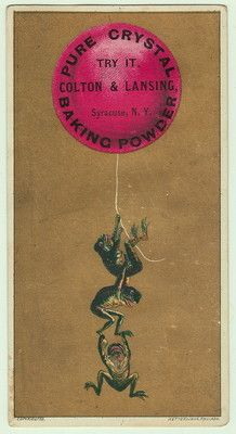Pure Crystal Baking Powder Victorian Trade Card Frog Frogs Hang From Balloon