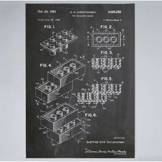 'LEGO Construction Toy Blocks US Patent Art blackboard' Poster by Stephen Chambers / The Pop Art Factory - Kopier - Lego Building Blocks, Building Toys, Poster Wall, Poster Prints, Framed Prints, Art Posters, Art Prints, Lego Patent, Construction Lego