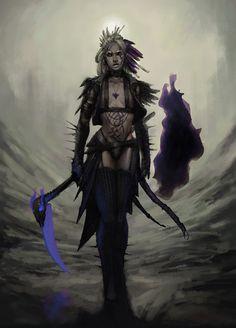 f Warlock Leather Armor Scythe Wilderness Path Conifer Forest Hills Shadar-Kai by SirHanselot DeviantArt lg (saved) High Fantasy, Fantasy Women, Fantasy Rpg, Fantasy Girl, Fantasy Artwork, Fantasy Images, Character Concept, Character Art, Concept Art
