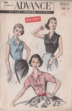 MOMSPatterns Vintage Sewing Patterns - Advance 8511 Vintage 50's Sewing Pattern LOVELY Sew Easy Retro Housewife V Neck Wing Collar Blouse Set, Sleeveless or Puff Sleeve