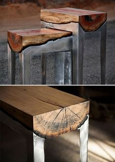 Cast Aluminum and Wood Furniture - Artist Hilla Shamia creates her cast aluminum and wood furnishings through a process that involves pouring molten aluminum directly onto the wood, letting it burn and seep deep into the woodgrain, creating a fresh look that blends the natural and the industrial. | werd.com