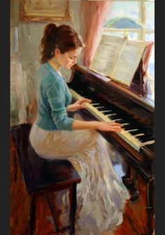 """Familiar Melody.Vladimir Volegov.  Volegov received an education at the art school, """"Krivoj Rog."""" After serving in the army, he then was admitted to the Lvov Polygraphic Institute in the former Soviet Union.  Over the past fourteen years, his art has evolved into the striking figurative work he creates today. Volegov's vibrant color palette and bold strokes coalesce to create evocative images that possess a timeless sensibility."""