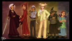 Susan sto Helit, Rincewind the Wizzard, Sam Vimes, Moist Von Lipvig, Nanny Ogg, Tiffany Aching   by yenefer