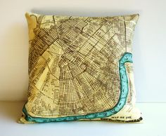 Map of New Orleans pillow This would be a great addition to my decor... where my boyfriend and I had our first date.