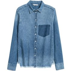 Denimskjorte 129 (£24) ❤ liked on Polyvore featuring tops, shirts, blusas, blue shirt, distressed shirt, blue collar shirt, shirt top and distressed denim shirt