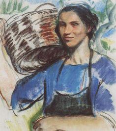 Cassis. A peasant woman with basket, 1928  Zinaida Serebriakova