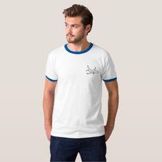 #white - #Airplane Men's Ringer T-Shirt -Blue/White