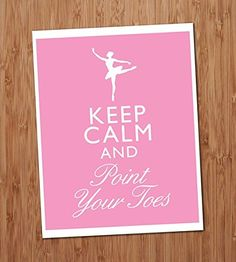 Keep Calm and Point Your Toes Ballet Art Print - 8x10 Wall Art - Decor. This Fun Keep Calm and Point Your Toes Ballet Art Print is one of my original designs. This image will fit neatly in a standard 8x10 inch frame or mat. It is printed with a white border on an 8.5x11 inch sheet so you have plenty of room to center it in your frame. The image is printed in quality ink on satin lustre card stock. Your print comes packed inside a plastic sleeve and between two sheets of cardboard to…