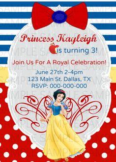 snow white birthday party invitations
