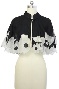 Bright Winter. Black Floral Capelet by Saachi on @HauteLook