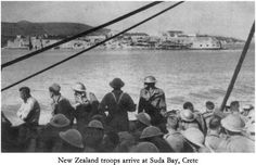 New Zealand troops arrive at Suda Bay, Crete Battle Of Crete, Greek History, Maori Art, Defence Force, British Soldier, Prisoners Of War, Lest We Forget, Old Maps, Military History