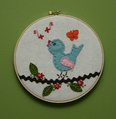 Singing Bird Felt Embroidery, via Flickr.