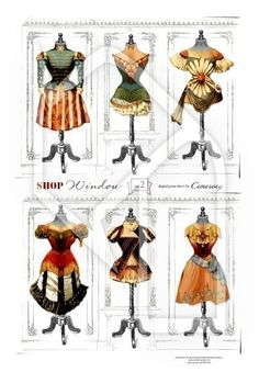 Dress Forms Theatre Costumes Digital Collage Print Sheet no121.  2.95, via Cemerony at Etsy. http://www.etsy.com/listing/62391261/dress-forms-theatre-costumes-digital