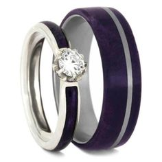 Purple box elder burl is the main element in this wood wedding ring set. This unique ring set comes with a moissanite engagement