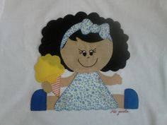 """Camiseta de niña decorada con muñeca en patchwork.  Facebook camisetas decoradas """"ME GUSTA"""""""