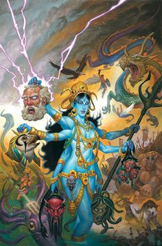 Peaceful Hindu Kali the queen of beheadings, Hindu false Goddess of Death. Kali Goddess, Mother Goddess, Indian Gods, Indian Art, Kali Tattoo, Geniale Tattoos, Divine Mother, Spiritus, Hindu Art