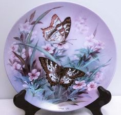 """1989 ,Lena Liu Butterfly Collector's Plate """"White Peacocks"""" - $12.95"""