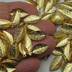 15mm Gold Plated Leaf Pendants Charms Leafs Leaves Gold Plated Over Brass Made Without Lead or Nickel You Can Pick Your Own Quantity