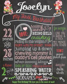 Custom Vintage Strawberry Shortcake First Birthday Chalkboard Poster Printable on Etsy, $30.00