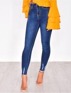 d99af4a7fde1 Jeans skinny taille haute à perles   22838   Mode hivernale ...