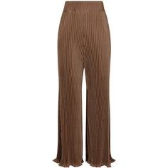 Beaufille Tan & Black Thebe Plissé Trousers ($485) ❤ liked on Polyvore featuring pants, flared trousers, high waisted trousers, stripe pants, high waisted pants and high waisted flare pants