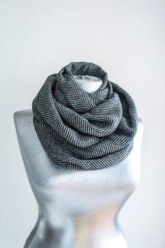 Scarf - Handmade Herringbone Infinity Scarf - Tweed - Black Gray - Winter Autumn Scarf on Etsy, $24.90