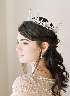 The CHARMAINE Crown © SWAROVSKI CRYSTAL and FAUX PEARL FULL BRIDAL CROWN © (CHARMAINE Earrings © also available for purchase from this listing.) ***THE CROWN DETAILS*** The CHARMAINE Crown is absolutely INCREDIBLE in person... the perfect crown for a fairytale wedding! Its 360