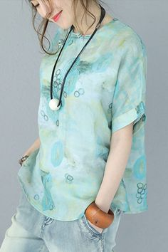 Women Summer Chinese Style Vintage Printed T Shirt Linen Tops Q9031