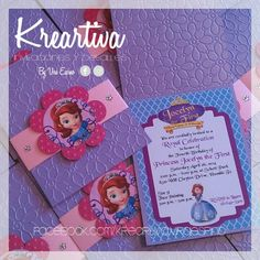 Invitación de la Princesita Sofia.   www.facebook.com/kreartiva.viraespino
