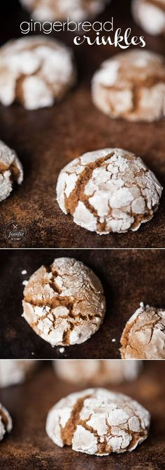 Gingerbread Crinkles are a soft and chewy cookie full of molasses and holiday spice. They are the perfect Christmas treat! #gingerbread #christmascookie