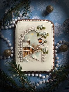 Cookie by Mézesmanna. More speechless awe over here. Christmas Goodies, Christmas Desserts, Christmas Treats, Christmas Baking, Fancy Cookies, Iced Cookies, Royal Icing Cookies, Christmas Sugar Cookies, Holiday Cookies