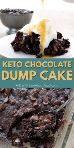 Part pudding, part cake, this Keto Chocolate Dump Cake is impossibly warm and gooey. Dig in for a delicious sugar free dessert. Only 35 minutes, start to finish! Low Carb Sweets, Low Carb Desserts, Healthy Desserts, Low Carb Recipes, Delicious Desserts, Diet Desserts, Sugar Free Desserts, Sugar Free Recipes, Keto Cake
