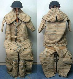 Yoroi katabira tatami gusoku, a full matching suit of samurai cloth covered armor with an unknown armor defense sewn between layers of cloth, consisting of a yoroi katabira (armored jacket), kabuto with shikoro, kote, hakama, sunate.