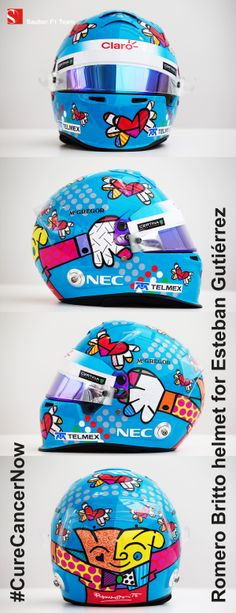 Racing for a good cause: Esteban's #RomeroBritto #CureCancerNow helmet for the #MonacoGP - You'll be able to bid for this helmet on #CharityBuzz from Monday! #SauberF1Team #F1 #Formula1 #FormulaOne #motorsport